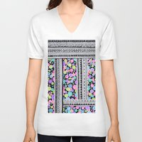 blanket V-neck T-shirts featuring Psychedelic blanket by Asja Boros