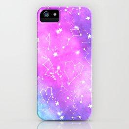 White constellation universe pattern zodiac on purple blue nebula space watercolor iPhone Case