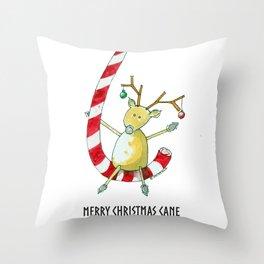Merry Christmas Cane Throw Pillow