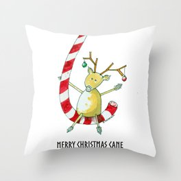 Merry Christmas Cane Throw Pillow