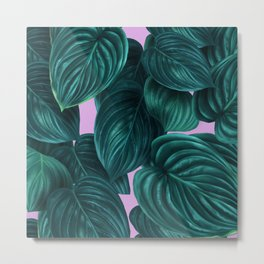 tropical green pattern on pink Metal Print