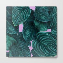 tropical green pattern on pink Metal Print