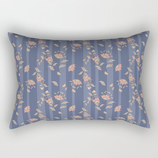 Retro . Floral pattern on a blue striped background . Rectangular Pillow