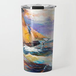 Fishing boats in the sea at sunset Travel Mug