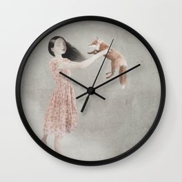 red fox rescue Wall Clock
