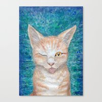 Canvas Prints featuring ;P ~ Seb the Groovy Cat ~ Watercolor & Acrylic Painting by River Dragon Art