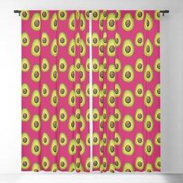 Dark Pink Avocado Pattern Blackout Curtain