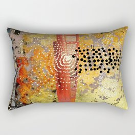 Orange Gold Burst Abstract Art Collage Rectangular Pillow