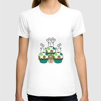 polkadot T-shirts featuring Cute Monster With Green And Brown Polkadot Cupcakes by Mydeas