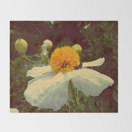 Secret Garden   White poppy  Throw Blanket