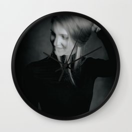 Blonde hair girl out of focus portrait Wall Clock