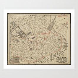 Vintage Map of Downtown Boston MA (1911) Art Print