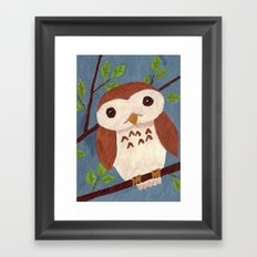 Baby Owl Perched on a Branch Framed Art Print