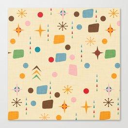 Atomic Pattern Beige Blue  #midcenturymodern Canvas Print
