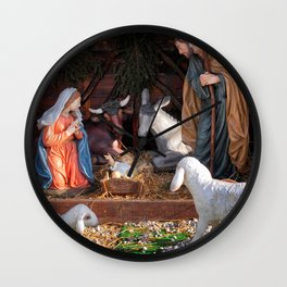 Christmas and Christianity. Nativity scene. Wall Clock