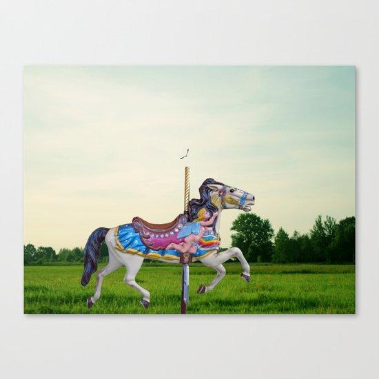 Wood horse Nature Canvas Print