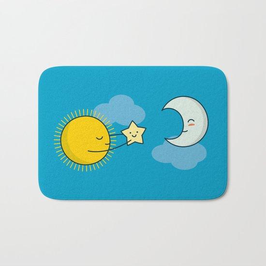 Sun and Moon - Cute Doodles Bath Mat
