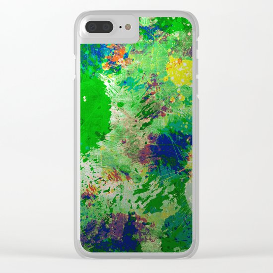 Spring Time Splatter - Abstract blue and green platter painting Clear iPhone Case
