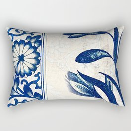 Blue Oriental Vintage Tile 03 Rectangular Pillow