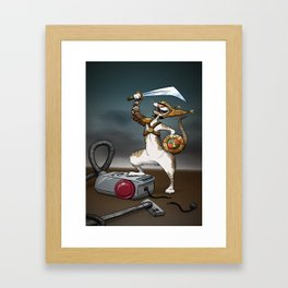 The final battle - Cat vs Vacuum cleaner Framed Art Print