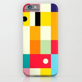 Geometric Bauhaus Pattern | Retro Arcade Video Game | Abstract Shapes iPhone Case