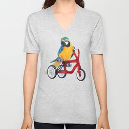 Parrot macaw on red bike Unisex V-Neck