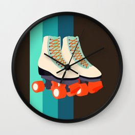 Retro Roller Skates Wall Clock
