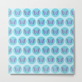 Blue butterflies pattern Metal Print