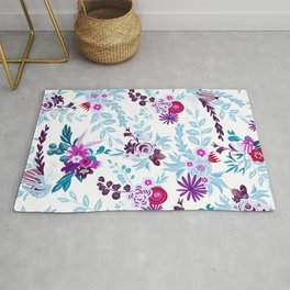 Abstract pastel blue pink country flowers pattern Rug