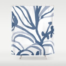 Blue Abstract Watery Lines Shower Curtain