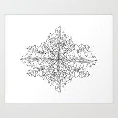 starburst line art - white Art Print