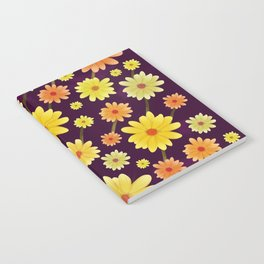 Yellow dots, Yellow Flower, Floral Pattern, Yellow Blossom Notebook