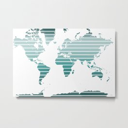 World Map - Colorful stripes - Blues Metal Print