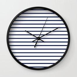 Horizontal Navy Blue Stripes Pattern Wall Clock