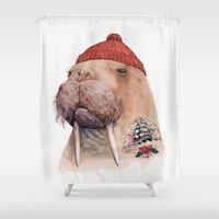 walrus Shower Curtains featuring Tattooed walrus by Animal Crew