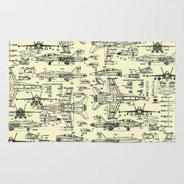 F-18 Blueprints // Parchment Rug