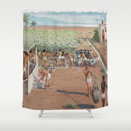 Classical Masterpiece Egyptian Laborers Harvest Grapes by Herbert Herget Shower Curtain