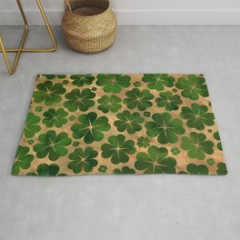Lucky Shamrock Four-leaf Clover Pattern Watercolor Rug