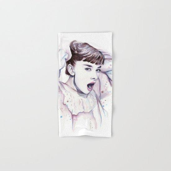 Audrey Hepburn Watercolor Hand & Bath Towel