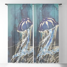 Metallic Jellyfish III Sheer Curtain
