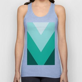 Green Teal Chevron Stripes Unisex Tank Top