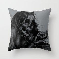 Skeleton Holding Diamond Throw Pillow