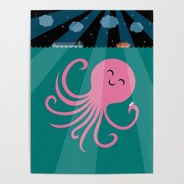 Octopus Selfie at Night Poster