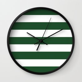 Cal Poly Pomona green - solid color - white stripes pattern Wall Clock