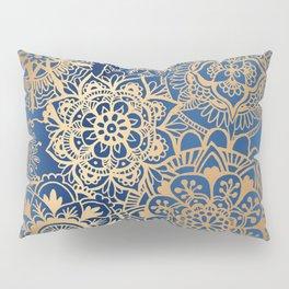 Blue and Gold Mandala Pattern Pillow Sham
