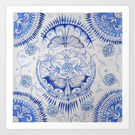 Blue Dragonfly & Rose Art Print