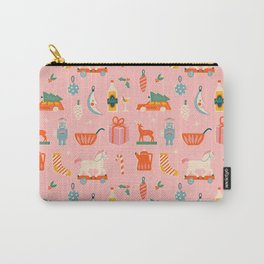 Vintage Christmas in pink Carry-All Pouch