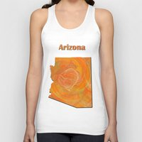 arizona Tank Tops featuring Arizona Map by Roger Wedegis
