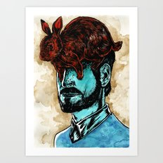 The Man With A Rabbit Hat Art Print
