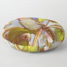 Orange cheeked waxbill finch with blueberries Floor Pillow